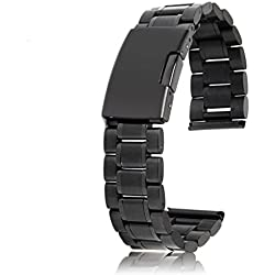 Solid Stainless Steel Links Watch Band Strap Deployment Buckle 20mm Straight End---Black