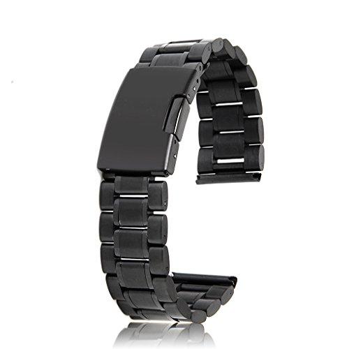 Uhrenarmbänder Schwarz Massiv Edelstahl Links Bandbügel gerade Ende Faltschließe 20mm (Gerades Ende 1 X)