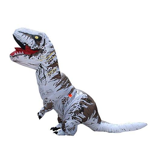 Triseaman Erwachsene Halloween Kostüm T-REX Blow Up Cosplay Aufblasbarer Dinosaurier Weiß (T Rex Kostüm Für Erwachsene)