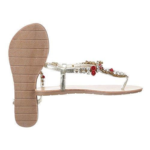 Ital-Design - Scarpe peep toe Donna Oro rosso