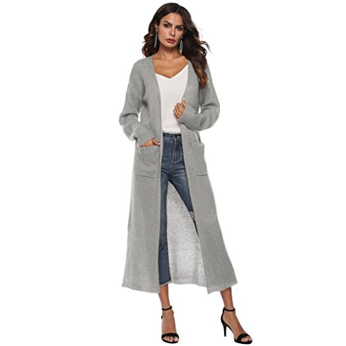 OSYARD Frauen Frühling Herbst Winter Strickjacke mit Langarm, Damen Open Cape Casual Mantel Bluse Kimono Jacke,Strickjacke Einfarbig Cardigan Jacken Parkajacke Lange Slim Oberbekleidung Wintermantel