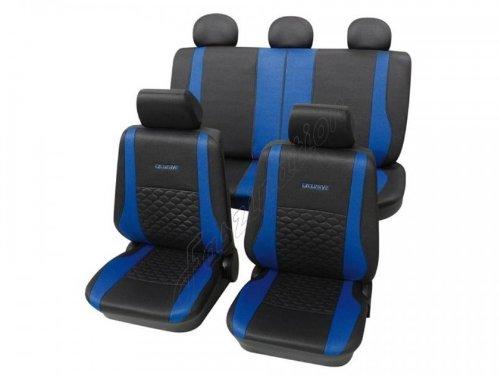 Coprisedili per auto, pelle effetto trapuntato, set completo, Toyota, Avensis a 12/2008, Camry ohne Seitenairbag, Celica, Corolla, HiLux o. S., RAV 4 a 1/2006, Starlet, Tercel, Yaris a 11/2005 ,antracite nero blu