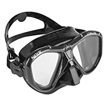 SEAC Unisex's Italia, Mask for Professional and Recreational Diving and Snorkeling, Black/Black, Asian Fit