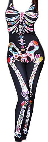 Damen Halloween Catsuit Mexikanisches Totenfest bunter Knochenprint, schwarz, 38-40
