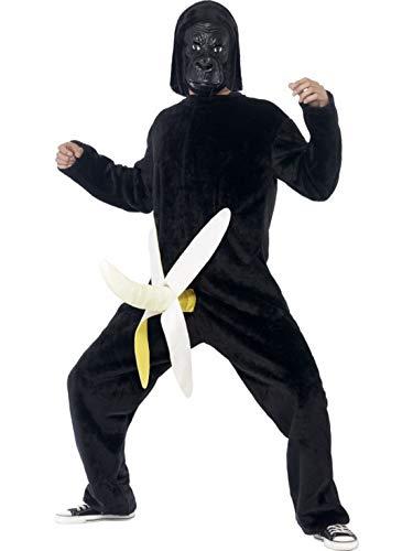 Kostüm Maus Mann - Luxuspiraten - Herren Männer Affen Gorilla King Dong Kostüm mit Bodysuit mit Banane und Latex Maske, perfekt für Karneval, Fasching und Fastnacht, One Size, Schwarz