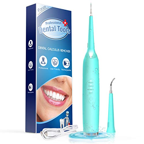 iFanze Pulizia Denti kit, Pulizia Denti, Pulizia Dentale, Rimuove la Macchie di Denti, Luce a Led, 3 Modalità, 2 Teste