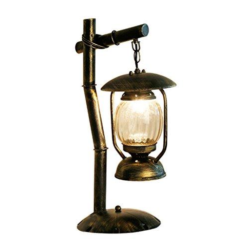 CKH Retro Kreative Persönlichkeit Lampe Antikes Eisen Studie Wohnzimmer Schlafzimmer Tischlampe Tee Zimmer Lampe Glas Tischlampe Antike Tee