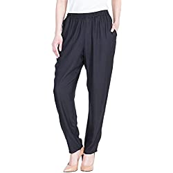 Dada Shopy Comfort Fit Rayon Cotton Pant Palazzo for Women (Black)