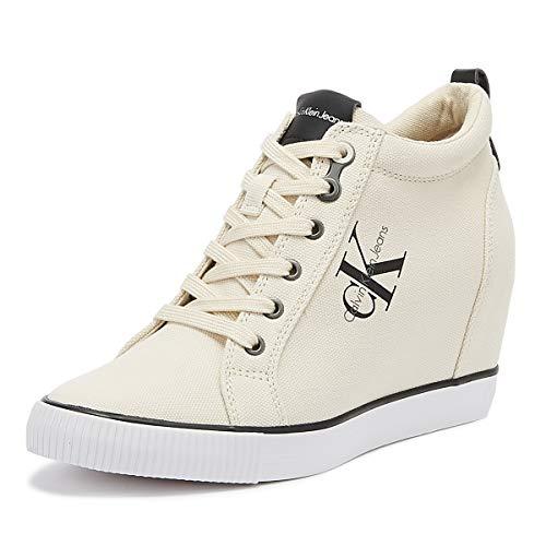 Calvin Klein Jeans Ritzy Damen Wedge Weiß Sneakers-UK 5 / EU 38 Womens Platform Wedge Schuhe Sneaker