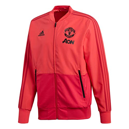 Adidas manchester united presentation jacket, felpa uomo, core pink/blaze red/nero, s