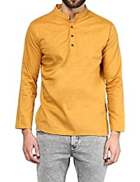 VIVIDS INDIA MEN'S Cotton Short Kurta (Golden , G-136 - $P)