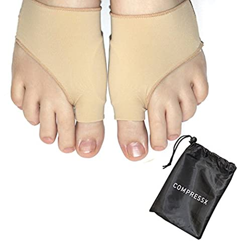 COMPRESSX Bunion Corrector– Bunion Relief Sleeves Bunion Pads - Bunion Toe Straightener – Hallux Valgus Pain Relief – For Men and Women (Large)