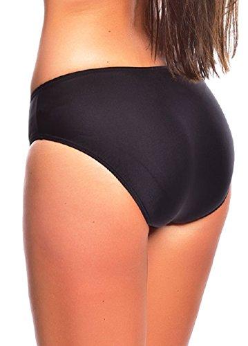 Trendige Damen Schwimm - Strand Bademode Badeslip Bikinihose Slip Badehose Panty Bauchweg Slip verschiedene Varianten Größen f5417 Bikini Slip Black S4(sw)