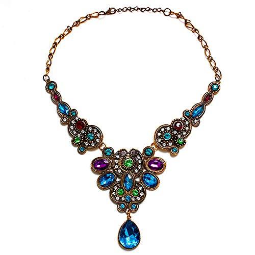 JMZDAW Halskette Anhänger Kristall Halskette Halsband Halsband Tropfen Anhänger Kette Statement-Halskette Weiblichen Schmuck Geschenk Geschenk, EIN