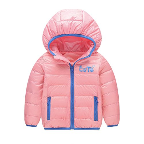 Familizo Age 1-6 Years Kids Down Jacket - Baby Girls Boys Coat Autumn&Winter Warm Zip Clothes (18M/Size:90, Pink)