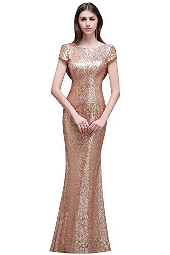 MisShow Damen Lang Pailletten Abendkleid Brautjungfernkleid Rückfrei Ballkleid Hochzeitkleider Rose-Gold Gr.34