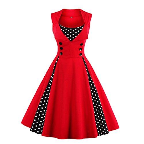 Dissa M1357 Damen 50er Retro Cocktail Vintage Rockabilly Kleid Rot