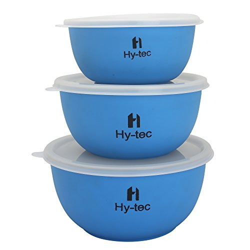Hytec Microwave Safe Stainless Steel Euro Lid Bowl (Set Of 3 Blue Bowl)