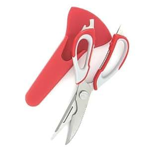 Ciseaux de cuisine multifonctions et multi usages + fourreau aimanté - Rouge- decapsuleur / casse noix / eplucheur / tournevis
