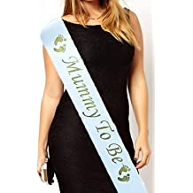 Mummy to Be Baby Shower Party Sash Satin Gold & White by Worldtenda