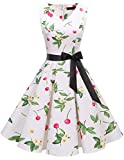 Bridesmay Robe Femme Vintage Années 50 Pin Up Robe de Soirée Cocktail Cérémonie Audrey Hepburn Rockabilly Swing Col en V sans Manche Small Cherry M