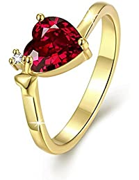 Via Mazzini 24K Gold Plated Carnelian Red Top Quality Swiss Zirconia Crystal Heart Ring For Women And Girls (Ring0224)