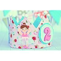 Corona de tela cumpleaños niña bailarina con aplique fieltro, decoración cumple infantil