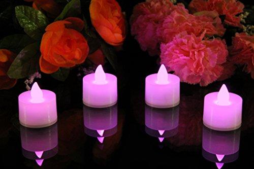 4er Set Batteriebetriebene LED Teelichter Rosa, Flammenlose Kerzen für Deko von PK Green