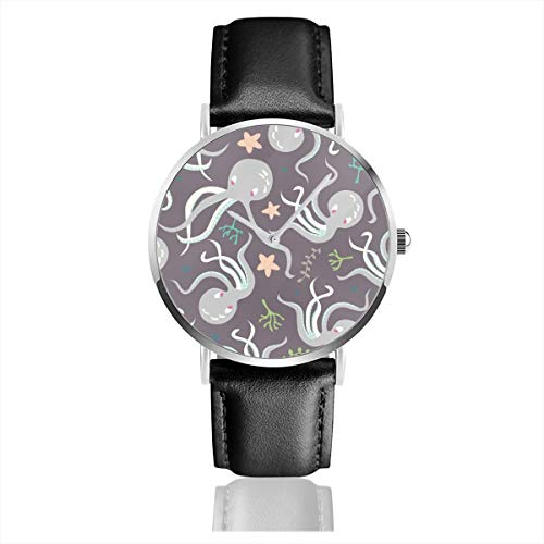 Business Analog Watches,Cute Gray Octopuses Classic Stainless Steel Quartz Waterproof Wrist Watch with Leather Strap
