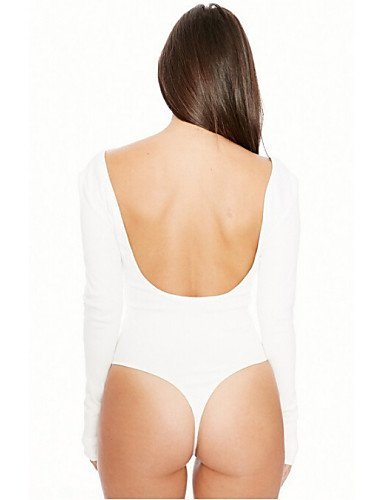 GSP-Combinaisons Aux femmes Manches Longues Sexy / Décontracté Coton / Polyester / Spandex Fin Micro-élastique gray-l