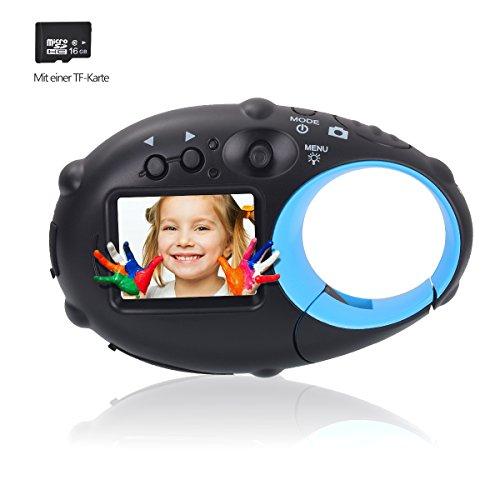 Tyhbelle Mini Kids Camera,Wiederaufladbar Digital Kamera für Kinder Tragbar Kinderkamera mit USB Kabel (Schwarz-Blau(mit 16GB TF-Karte))