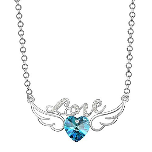 Peora Romantic Wingspan Heart Shaped Blue Swarovski Crystal Pendant Necklace Jewellery for Women & Girls (PFCP2058)