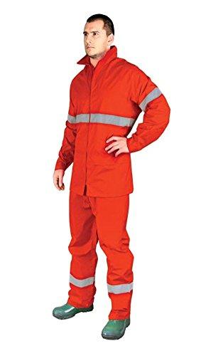ORANGE Hi Vis-Giacca impermeabile Tuta antipioggia-Cappotto impermeabile da uomo, ad alta visibilità large
