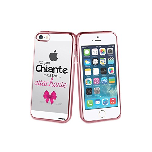 Coque iPhone 5/5S/SE bumper rose gold, Un peu chiante tres attachante, Evetane®