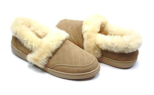 Lammfell Pantoffel Slipper Damen Hausschuhe mit Australischen Lammfell, beige - Sand mit beigen Fell mit biegsamer Comfort Sohle - sehr warm (39)