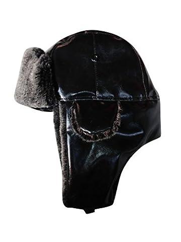 Baymate Hommes Hiver Chapeau Bonnet Trappeur Aviateur Faux Cuir Ski Montagne Oreilles Avec Masque Protecteur Noir