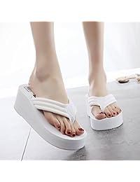 FLYRCX Sommer einfache Freizeitbekleidung rutschfeste Strand Hausschuhe lady High Heel clip Flip Flops, 35 EU, Weiß