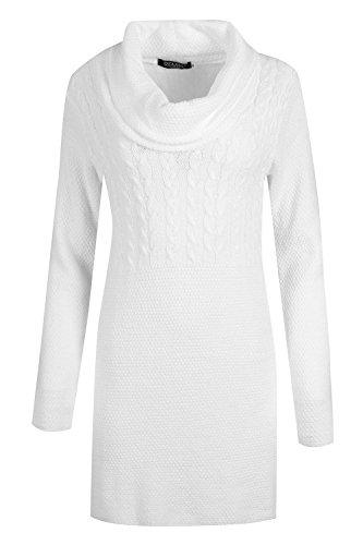 Oops Outlet Damen Rollkragen Waffel Textur Strick Damen Langärmlig Übergröße Bodycon Winter Pullover Minikleid - Weiß, XXL (EU 48/50) -