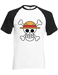 One Piece Flag Japanese Manga ????? Novelty Black/White Men Women Unisex Shirt Sleeve Baseball T Shirt