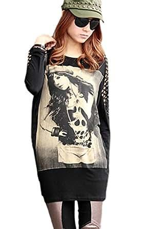 Superbaby Women Round Neck Hollow Shoulder Lace Stitch Tail Blouse T Shirt