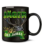 Golebros Jäger des Jahres 6203 Fun Jagd Tasse Becher Kaffeetasse Jägerprüfung Jagt Jägertasse Zubehör Geschenke Förster Deko jagdgeschirr Geschirr Mann Schwarz