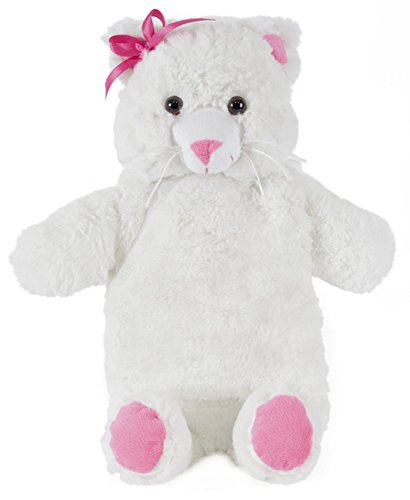 Niedliche Tier Plüsch Wärmflasche & Deckel 750 ml - Wählen Sie graue Kaninchen oder weiße Katze (Weiß)