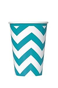 Partido Ênico 12 oz Chevron Paper Cups (paquete de 6, trullo)