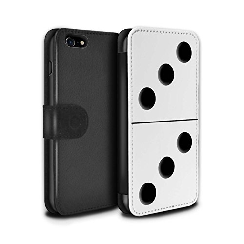 Stuff4 Coque/Etui/Housse Cuir PU Case/Cover pour Apple iPhone 7 / Tuile Blanc 5/1 Design / Domino/Dominos Collection Tuile Blanc 3/3