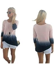 Mujer Casual Suelto Gradiente Color Impresión Manga larga Camiseta Tops Blusa