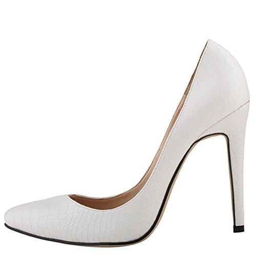 OCHENTA Femme Escarpins Animal Imprimee Talon Haut Aiguille A Enfiler Chaussures Mariage Soiree Avec Plusieurs Couleurs Blanc