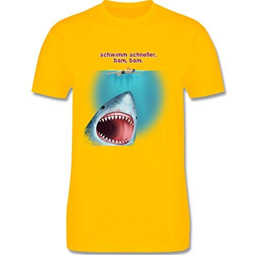 Wassersport - Schwimm schneller, bam, bam. - Herren Premium T-Shirt Gelb