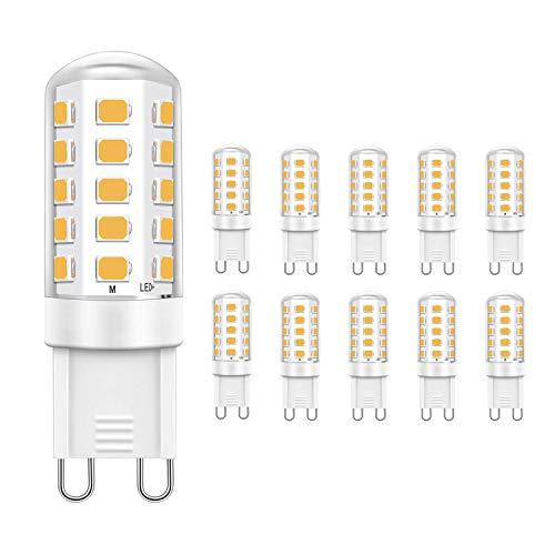 Jpodream® 5W Lampadina LED G9, Lampadine a Risparmio Energetico Bianco Caldo 2700K, 400LM, Equivalente a 40W Lampada Alogena, Non c'è Sfarfallio, AC220-240V - Confezione da 10