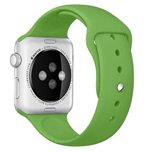 For Apple Watch 42mm ,Ouneed ® Deportes de la manera de silicona pulsera de la venda de la correa de reloj de 42 mm para Apple (Verde)