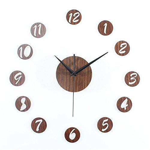 Wall clocks orologio da parete campana famiglia pendolo colore legno pesca fai da te orologio moda creativa orologio combinato fai da te orologio da muro adesivo retro pastorale muto mogano